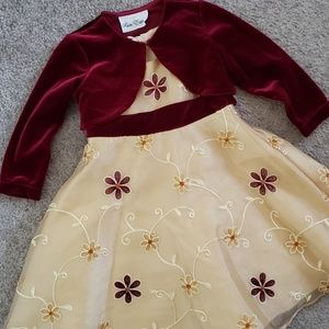 Dress and cardigan Size 3T Gold and Burgundy